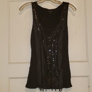 Express sequined & ribbon embellished tank top